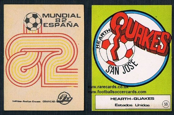 1982 NASL San Jose Earthquakes emblem card from Spain